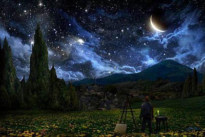 Landscapes Digital Art - Starry Night by Alex Ruiz