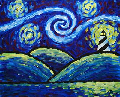 Lighthouse At Night Painting - Starry Night At Cape Hatteras by Emily Page