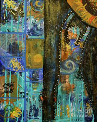 Amsterdam Mixed Media - Starry Night At Dawn by Dawn Wenzl