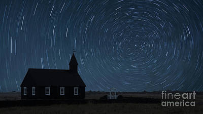 Photograph - Starry Night At The Black Church Iceland by Jerry Fornarotto