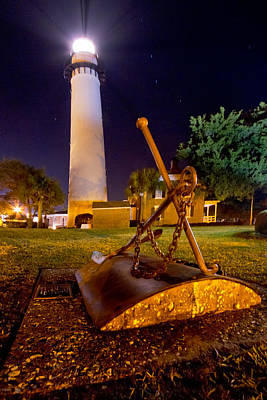 St. Simons Island Photograph - Starry Night Big Light by Debra and Dave Vanderlaan