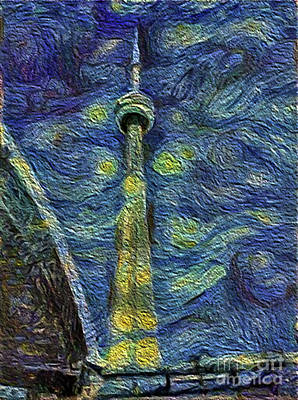 Photograph - Starry Night Cn Tower by Nina Silver
