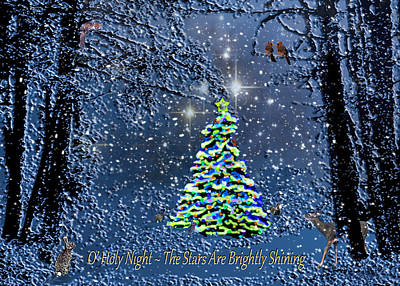 Photograph - Starry Night Forest Christmas Card by Michele Avanti