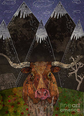 Longhorn Mixed Media - Starry Night by Francesca Rizzato