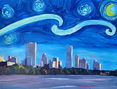 Starry Night In Austin - Van Gogh Inspirations With Skyline In Texas  Original by M Bleichner