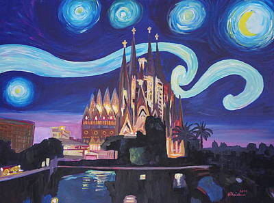Starry Night In Barcelona - Van Gogh Inspirations With Sagrada Familia Original by M Bleichner
