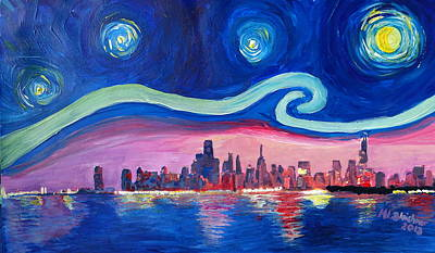Starry Night In Chicago Illinois With Lake Michigan And Van Gogh Inspirations Original