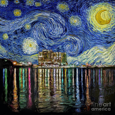 Starry Night In Destin Art Print by Walt Foegelle