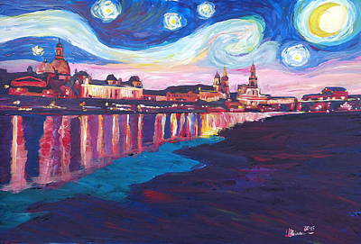 Night Painting - Starry Night In Dresden - Van Gogh Inspirations On River Elbe by M Bleichner