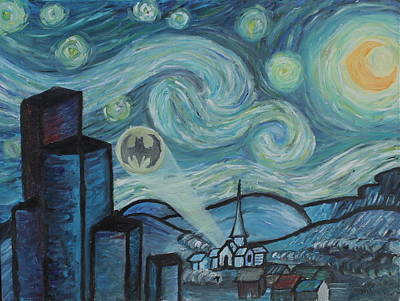 Wall Art - Painting - Starry Night In Gotham by Nik English