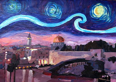 Sepulcher Painting - Starry Night In Jerusalem Over Wailing Wall by M Bleichner