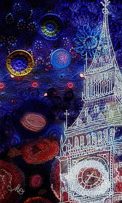 Fabric Mixed Media - Starry Night In London by Mo T
