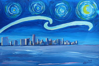 Starry Night In Miami - Van Gogh Inspirations With Skyline Silhouette At Sunset Florida - Original