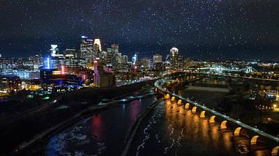 University Of Minnesota Wall Art - Photograph - Starry Night In Minneapolis by Gian Lorenzo Ferretti
