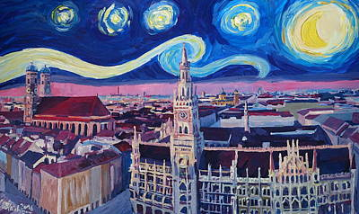 Office Wall Painting - Starry Night In Munich   Van Gogh Inspirations With Church Of Our Lady And City Hall by M Bleichner