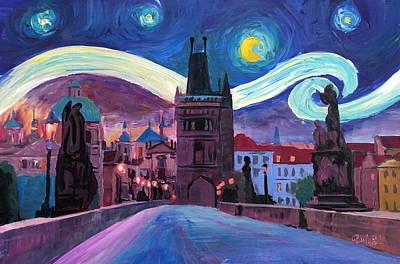 Praha Painting - Starry Night In Prague - Van Gogh Inspirations On Charles Bridge by M Bleichner