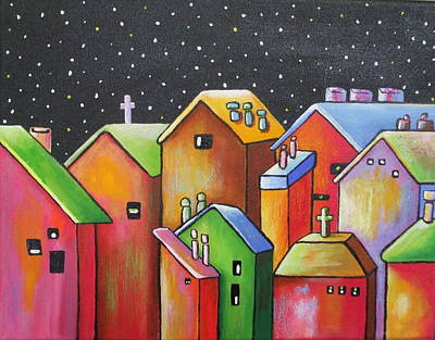 Janet Telander Painting - Starry Night In The Little City 1 by Janet  Telander