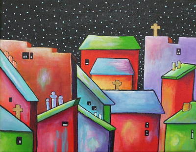 Janet Telander Painting - Starry Night In The Little City 2 by Janet  Telander