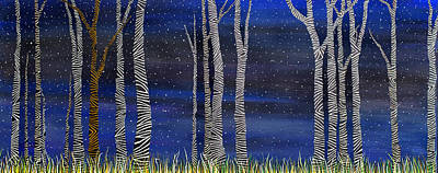 Painting - Starry Night In The Zebra Forrest by Andrea Youngman