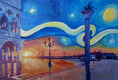 Europe Painting - Starry Night In Venice Italy San Marco With Lion by M Bleichner