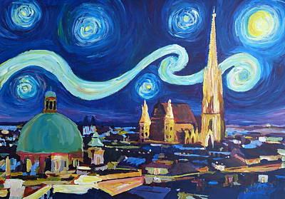 Starry Night In Vienna Austria   Saint Stephan Cathedral Van Gogh Inspirations Art Print