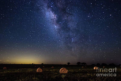 Haybales Photograph - Starry Night Landscape by Tod and Cynthia Grubbs