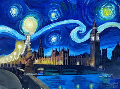 London Skyline Painting - Starry Night London Parliament Van Gogh Inspired by M Bleichner
