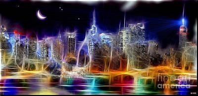 New York City Skyline Mixed Media - Starry Night Nyc Skyline by Daniel Janda