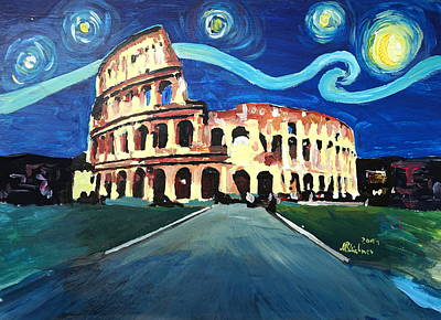 Starry Night Over Coliseum In Rome Italy With Van Gogh Inspirations Original