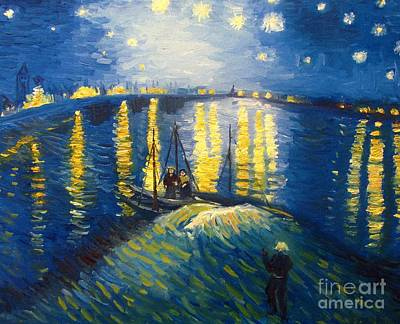 Refection Painting - Starry Night Over The Rhoneii by Andrea Realpe