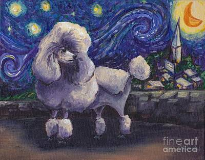 Impressionistic Dog Painting - Starry Night Poodle by Robin Wiesneth
