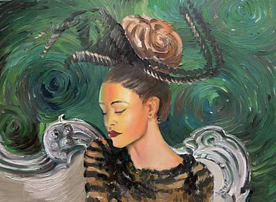 Painting - Starry Night Portrait by Vali Irina Ciobanu