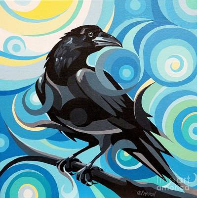Painting - Starry Night Raven by Christine Karron
