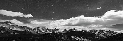 Photograph - Starry Night Rocky Mountain Black And White Panorama by James BO Insogna