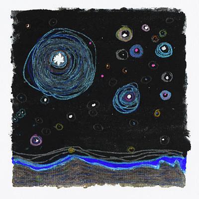 Drawing - Starry Night, Sedona, Az 2017 by Damini Celebre