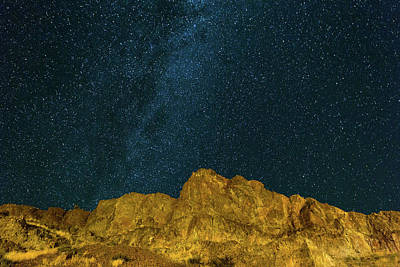 Starry Night Sky Over Rocky Landscape Art Print