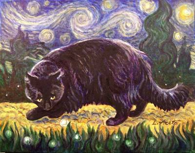Painting - Starry Night Stroll by Laura Aceto