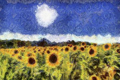 Mixed Media - Starry Night Sunflowers by David Pyatt