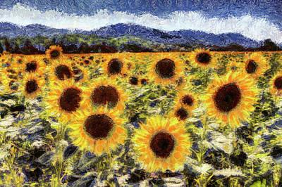 Mixed Media - Starry Night Sunflowers Van Gogh by David Pyatt