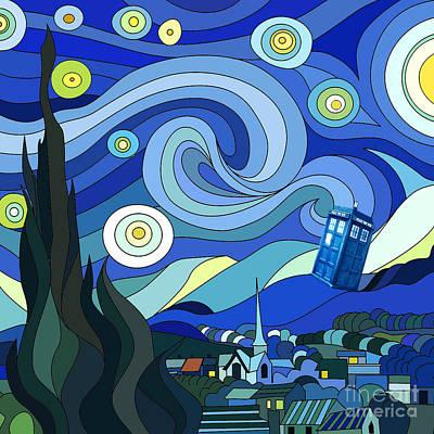 Starry Night Tardis Art Print by Devika Indriani