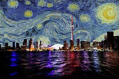 Lake Ontario Painting - Starry Night Toronto Canada by Movie Poster Prints