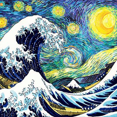 Starry Night Wave Art Print by Devika Indriani