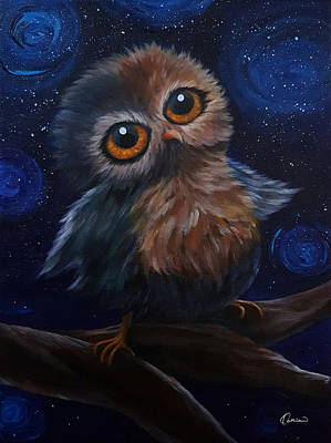 Landscape Painting - Starry Night With Owl by Kathleen Wong