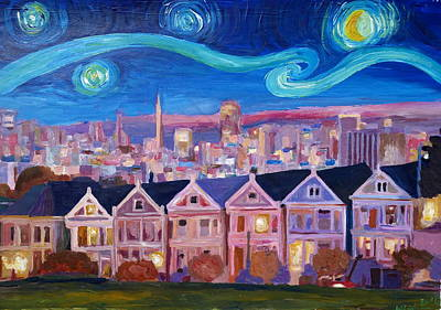 Skyline Painting - Starry Night With Painted Ladies San Francisco With Van Gogh Inspirations by M Bleichner
