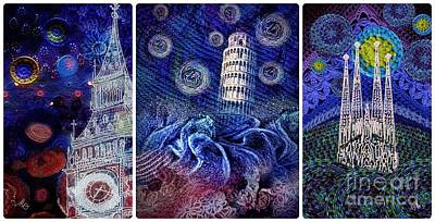 Mixed Media - Starry Night Worldwide Triptych by Mo T