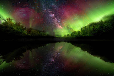 Photograph - Starry Northern Lights by Debra and Dave Vanderlaan