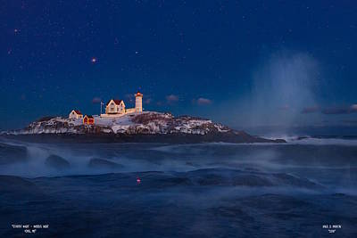 Photograph - Starry Nubble Lighthouse by Dale J Martin