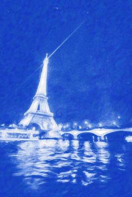 Eiffel Tower Painting - Starry Paris 4 by Celestial Images