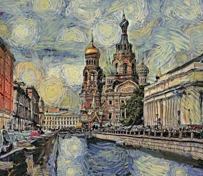 Digital Art - starry Saint Petersburg by Yury Malkov