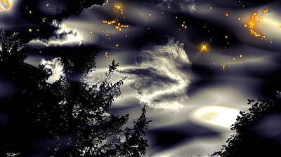 Imagination Digital Art - Starry Silhouette Sky by Abstract Angel Artist Stephen K